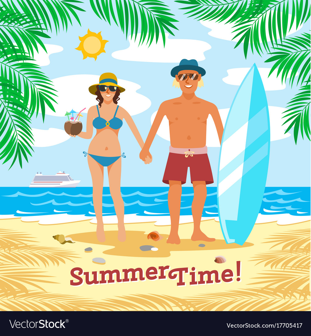 Man and woman couple vacation summer time on the