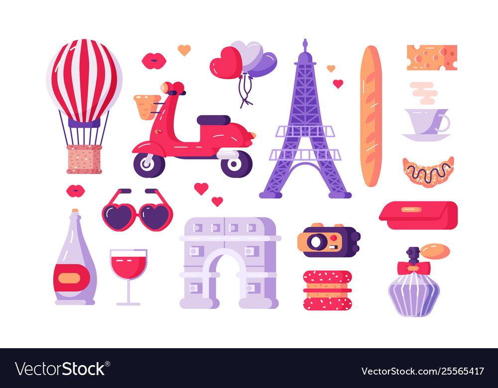 Paris famous symbols set