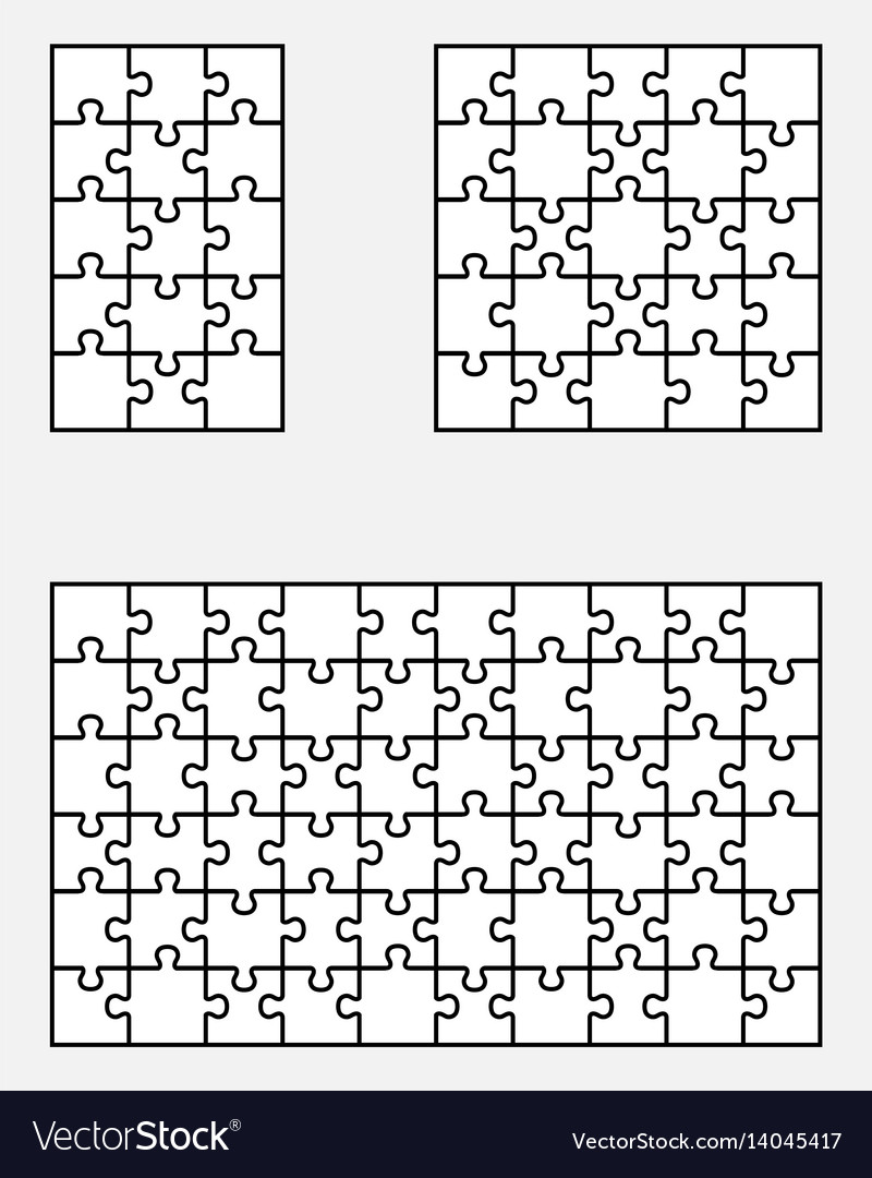 Three white puzzles vector image