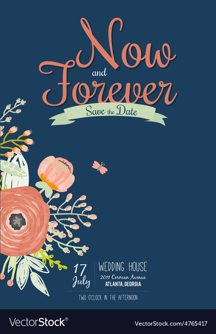 Wedding romantic floral Save the Date invitations