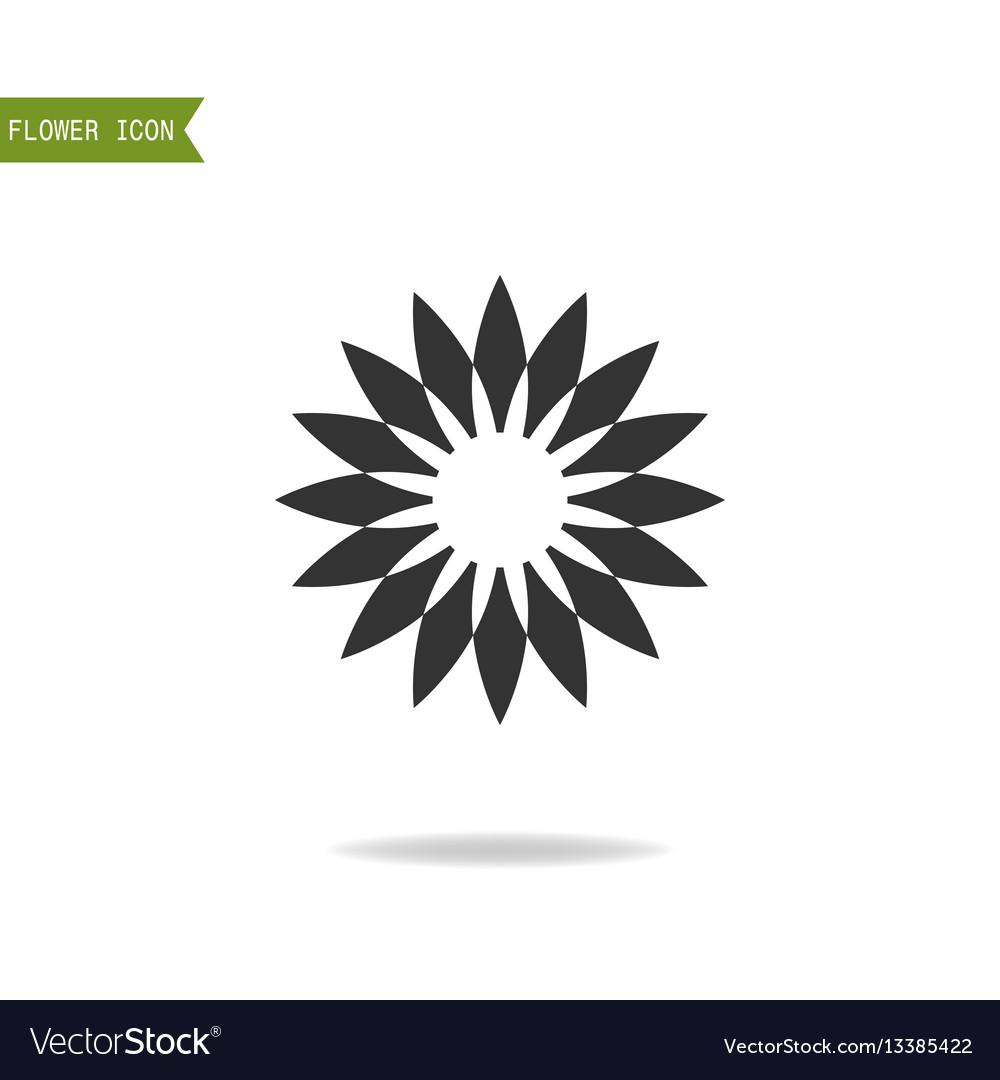 Black flat silhouette object of flower for logo