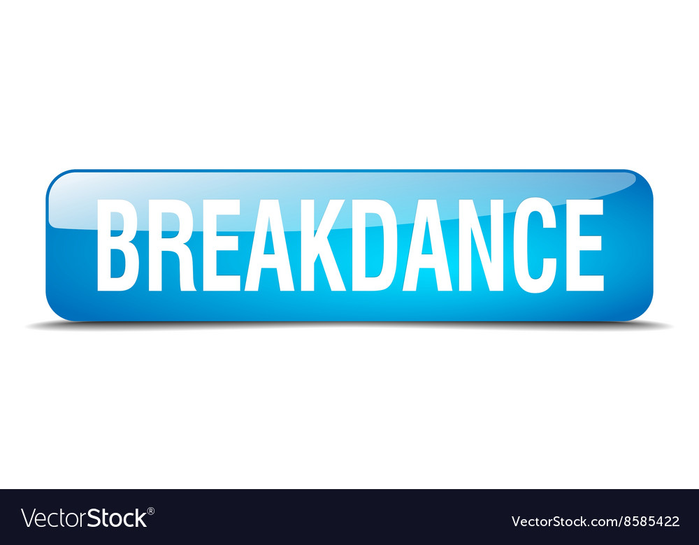 Breakdance blue square 3d realistic isolated web