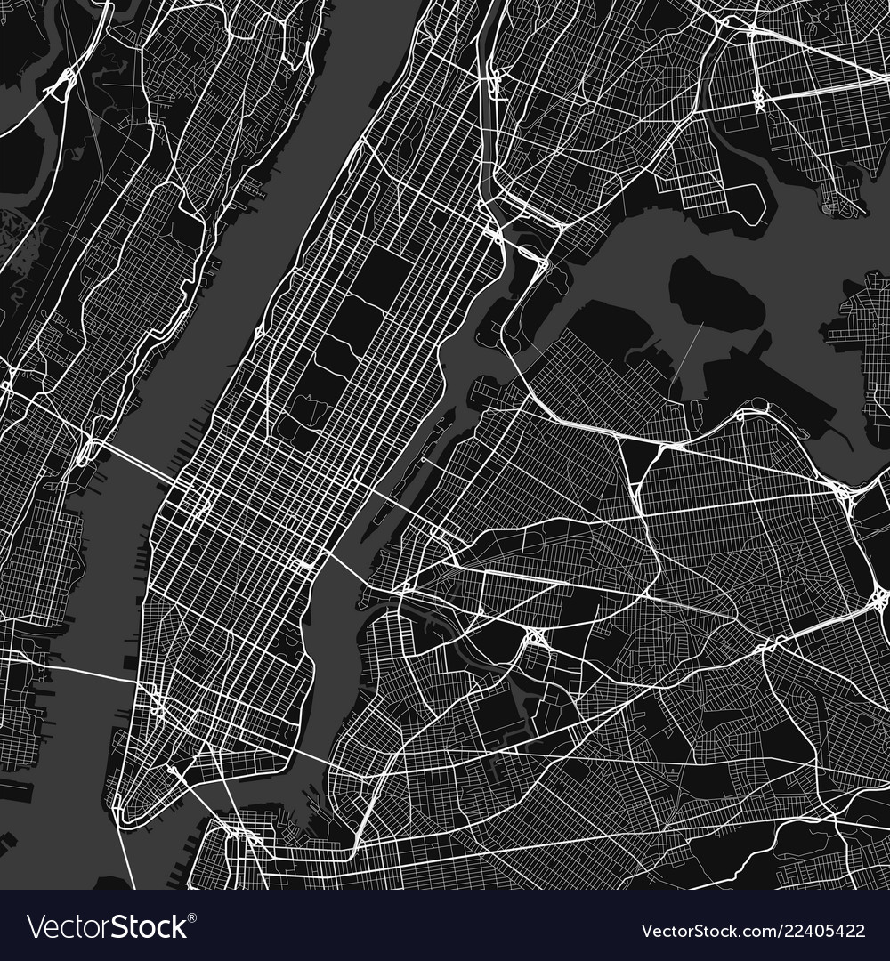New York Map Black And White.City Map Of New York In Black And White Royalty Free Vector