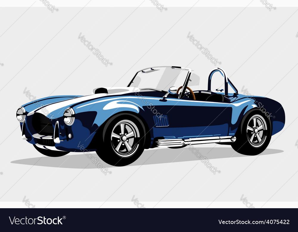 Classic sport blue car AC Shelby Cobra Roadster vector image
