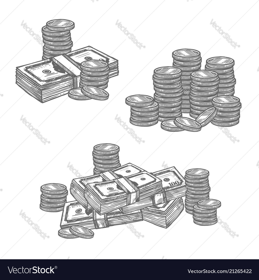 Dollar banknotes or cent coins sketch icons