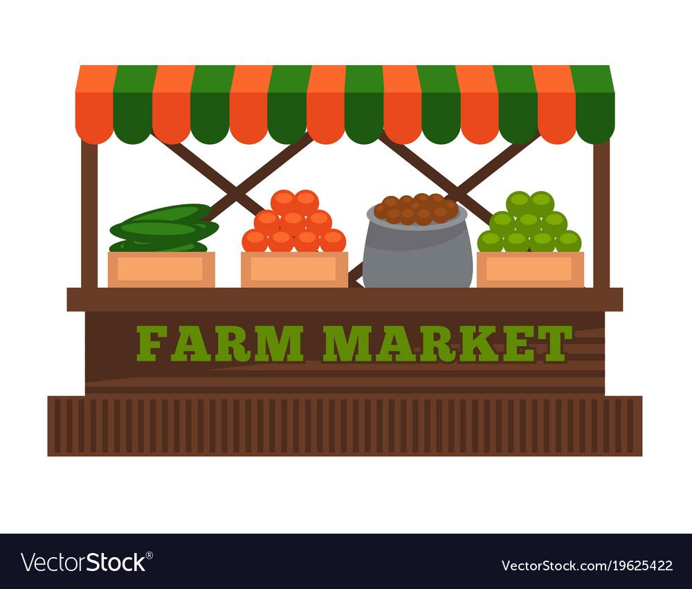 Farm market fruit or vegetable vendor booth stall