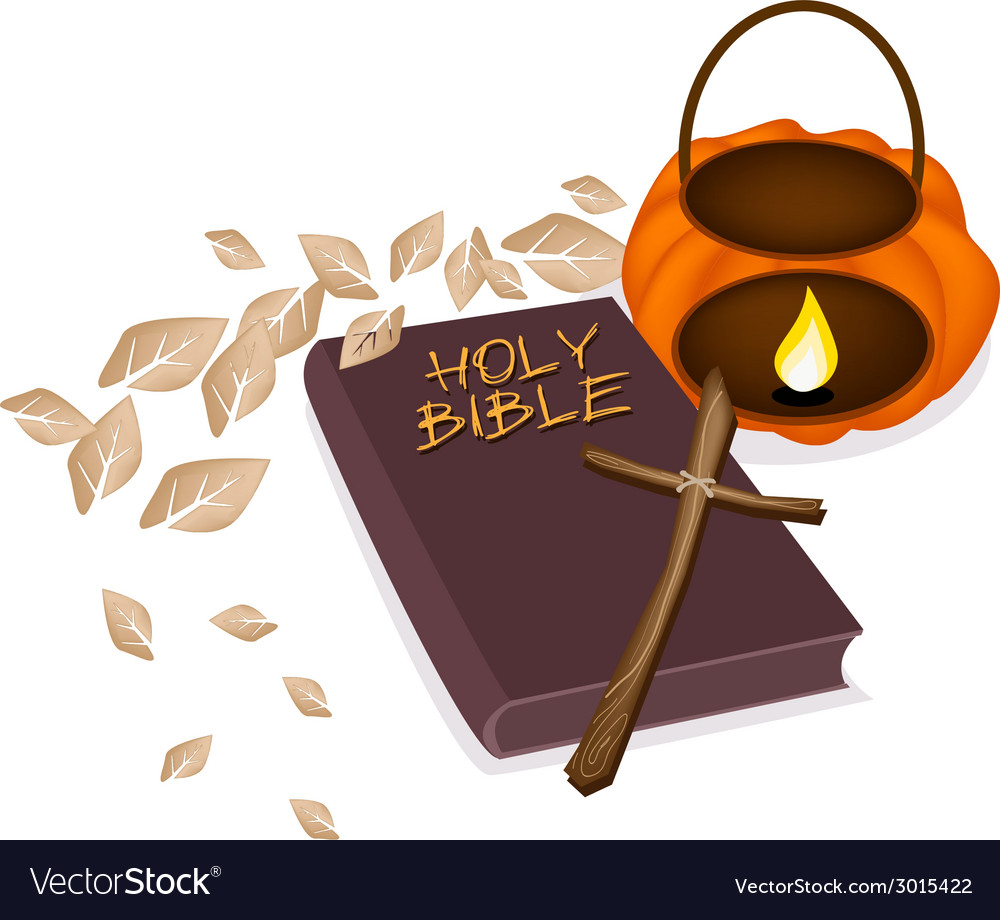 Holy Bible with Wooden Cross and Pumpkin Lantern