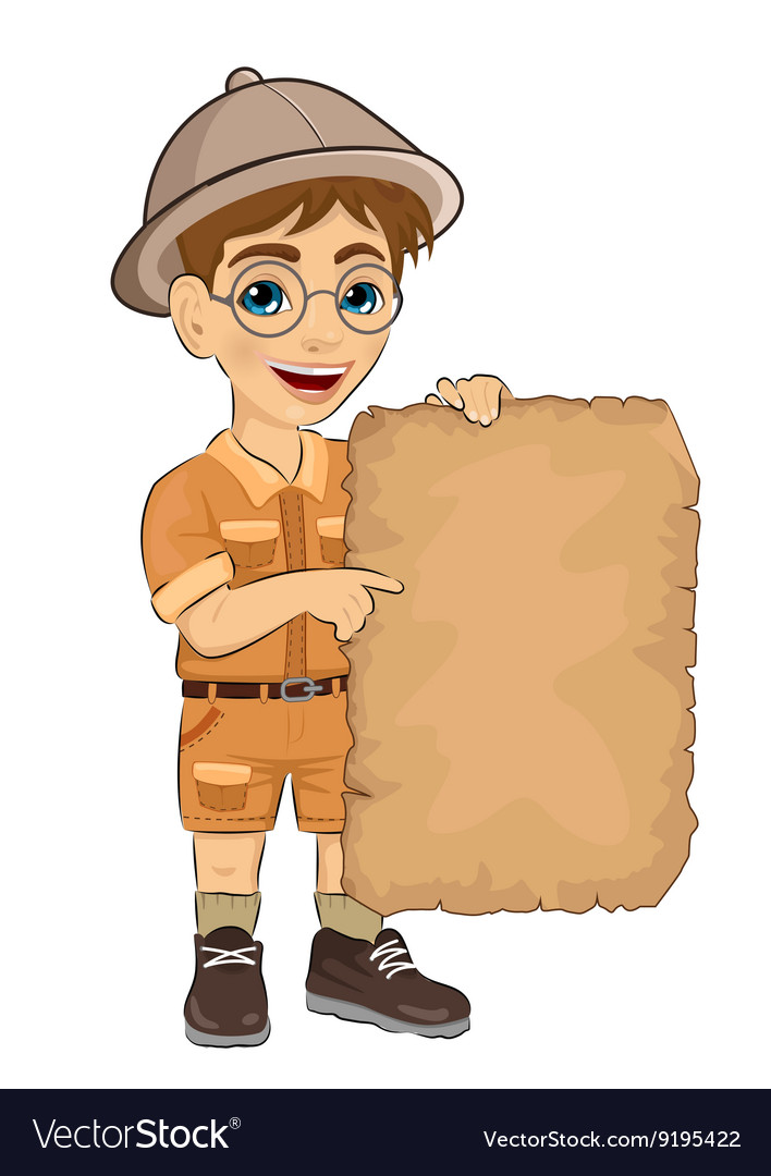 Kid boy with glasses holding blank adventure map