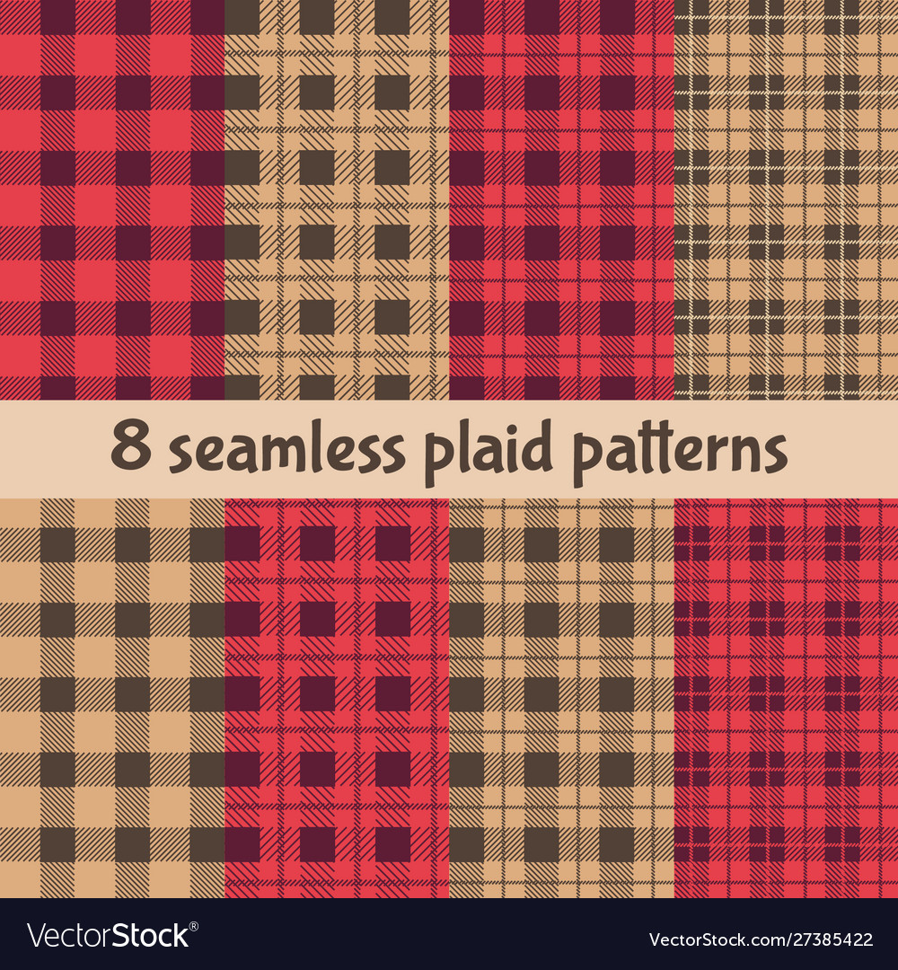 Plaid and buffalo check patterns red black beige