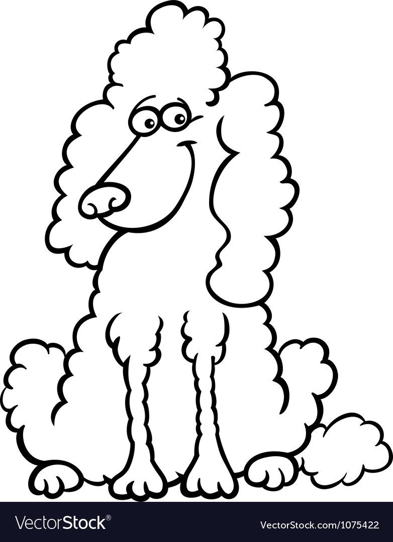 Poodle dog cartoon for coloring book Royalty Free Vector