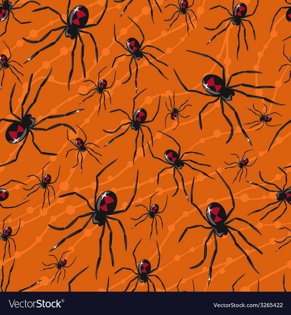 Seamless Halloween pattern with poisonous spiders
