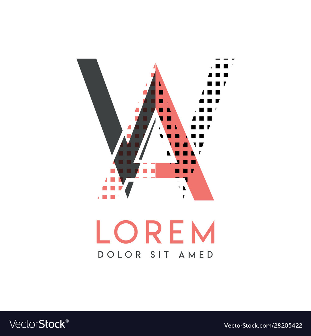 Wa modern logo design with gray and pink color
