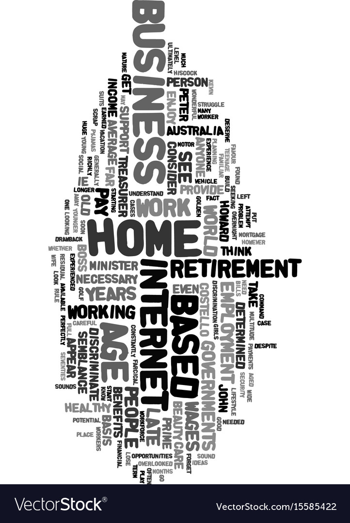 Work from home at any old age text word cloud vector image