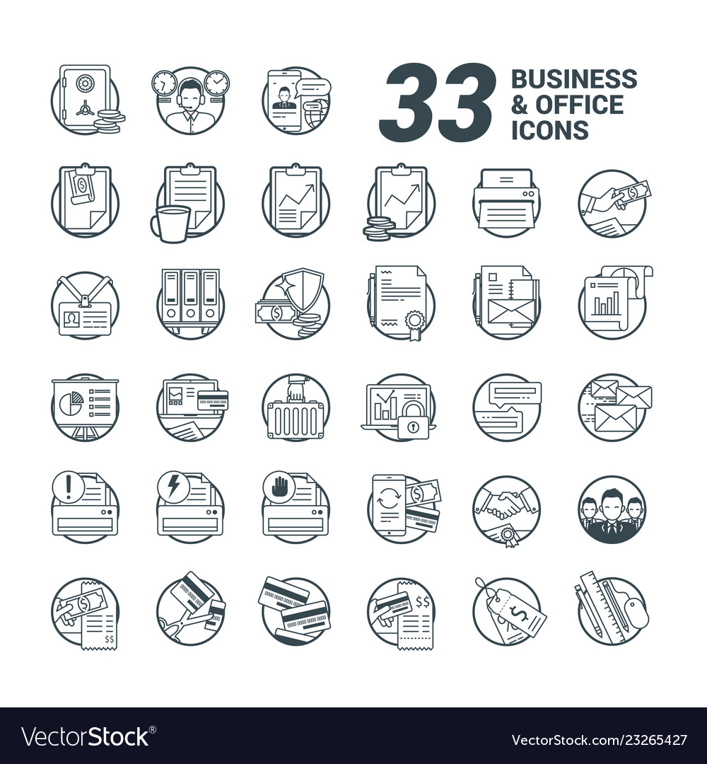 33 business and office line style icons