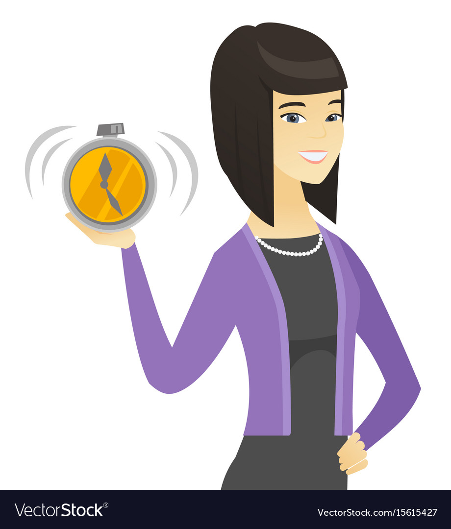 Asian business woman holding alarm clock