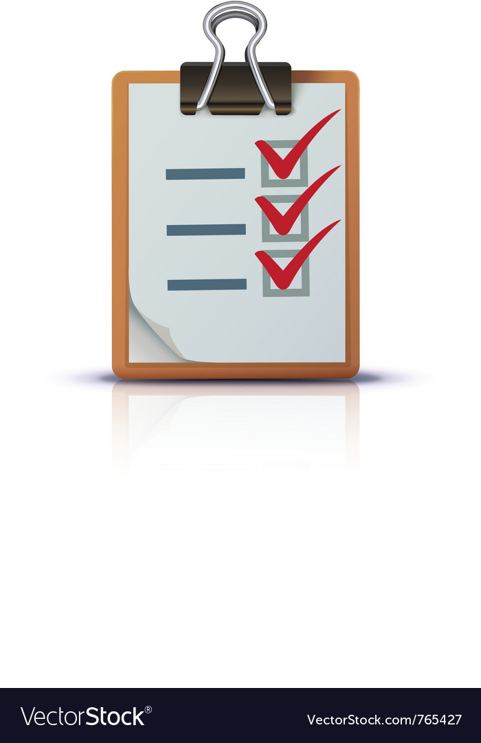 Check list on clipboard vector image