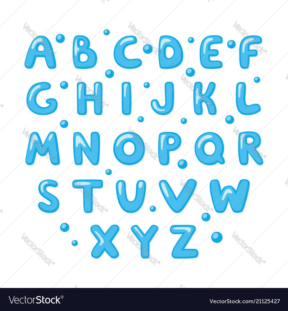 Childish cute english alphabet bold and shiny