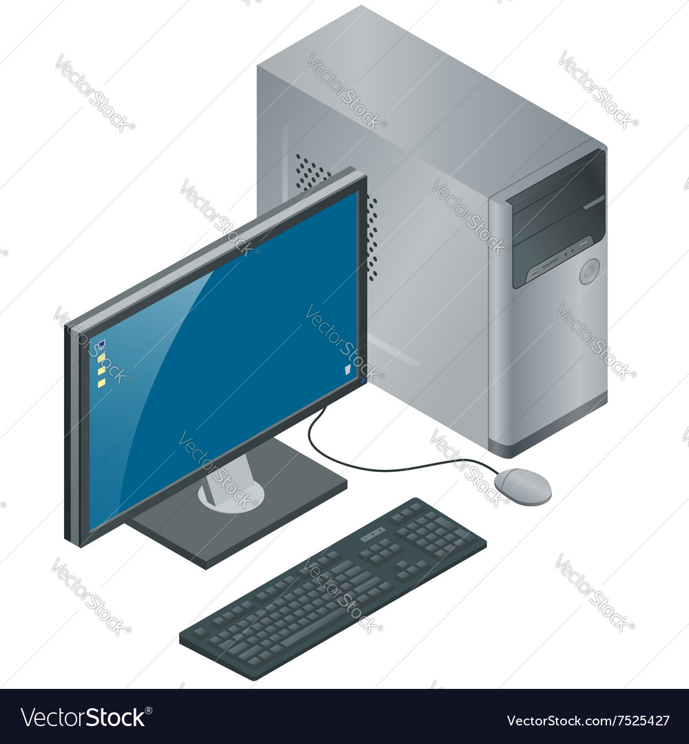 Computer Case with Monitor Keyboard and Mouse