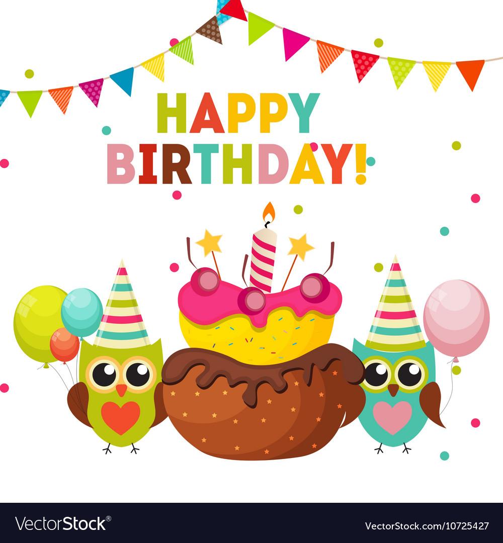 happy birthday owls Cute Owl Happy Birthday Background with Balloons Vector Image happy birthday owls