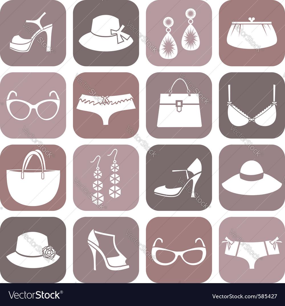 Fashion items icon set vector image