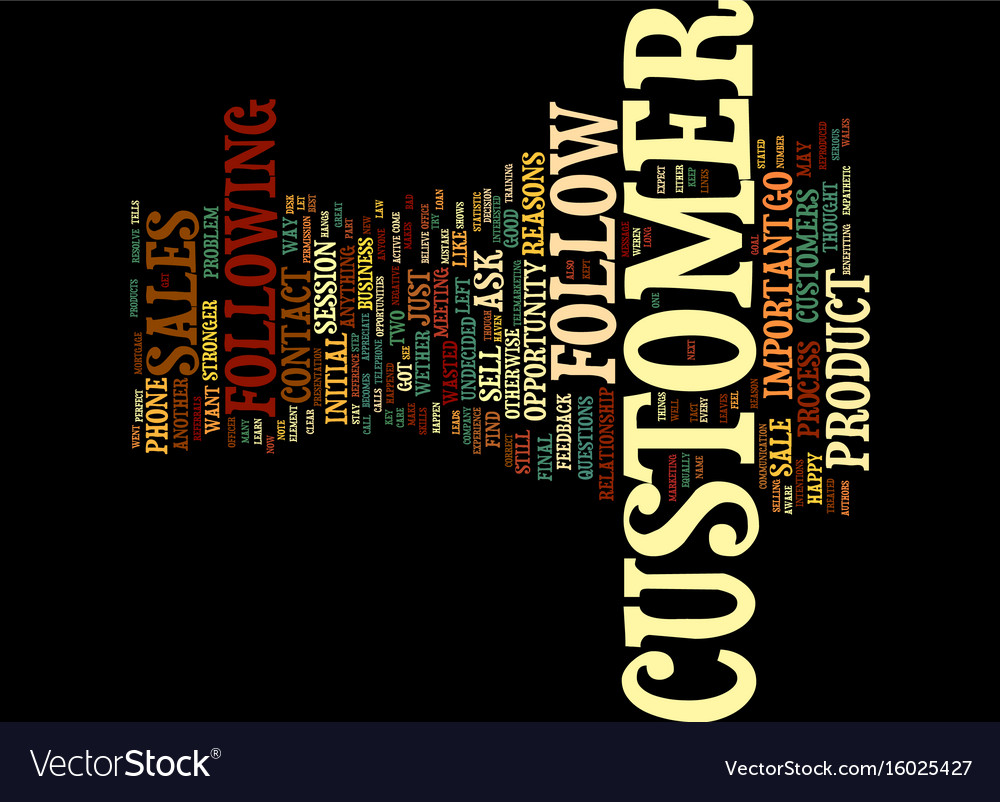 Follow up with your customer text background word vector image
