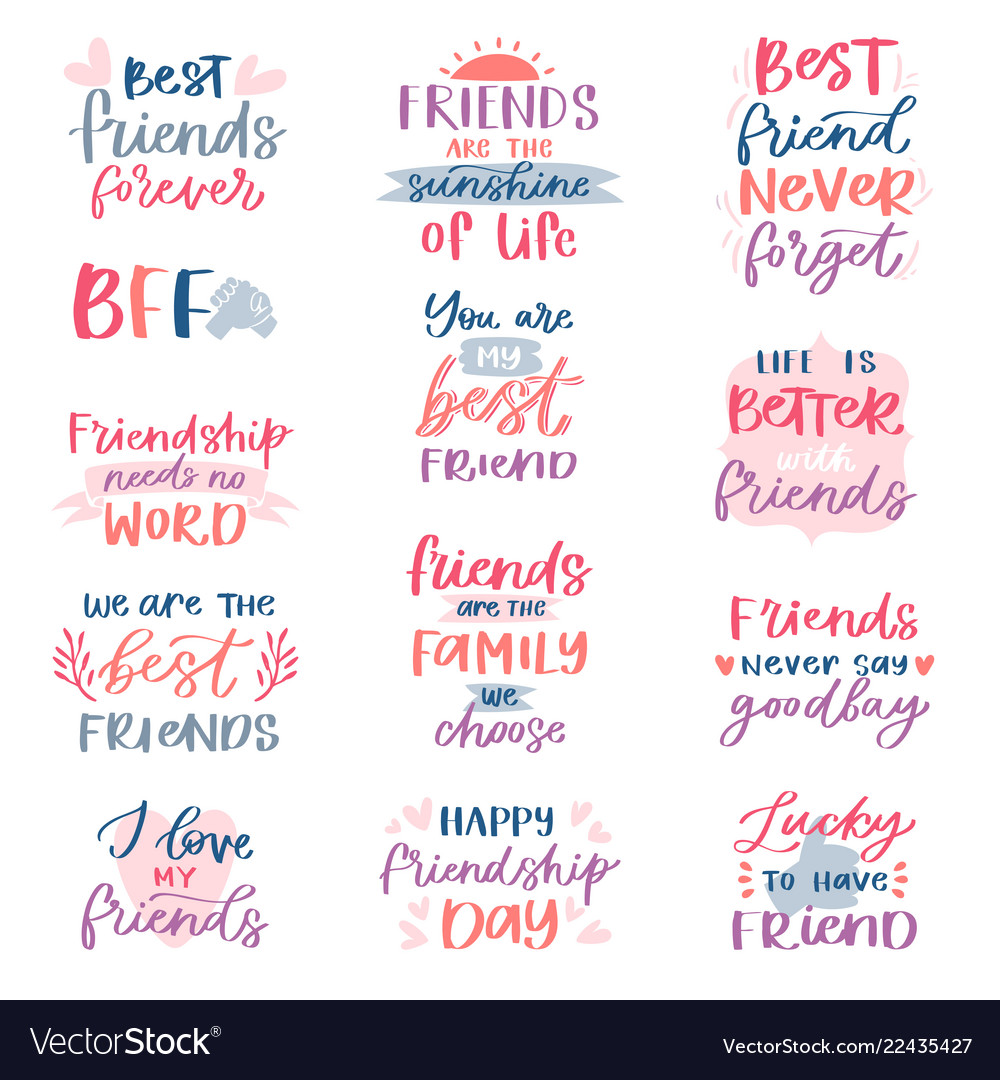 Friend lettering friendship card typography