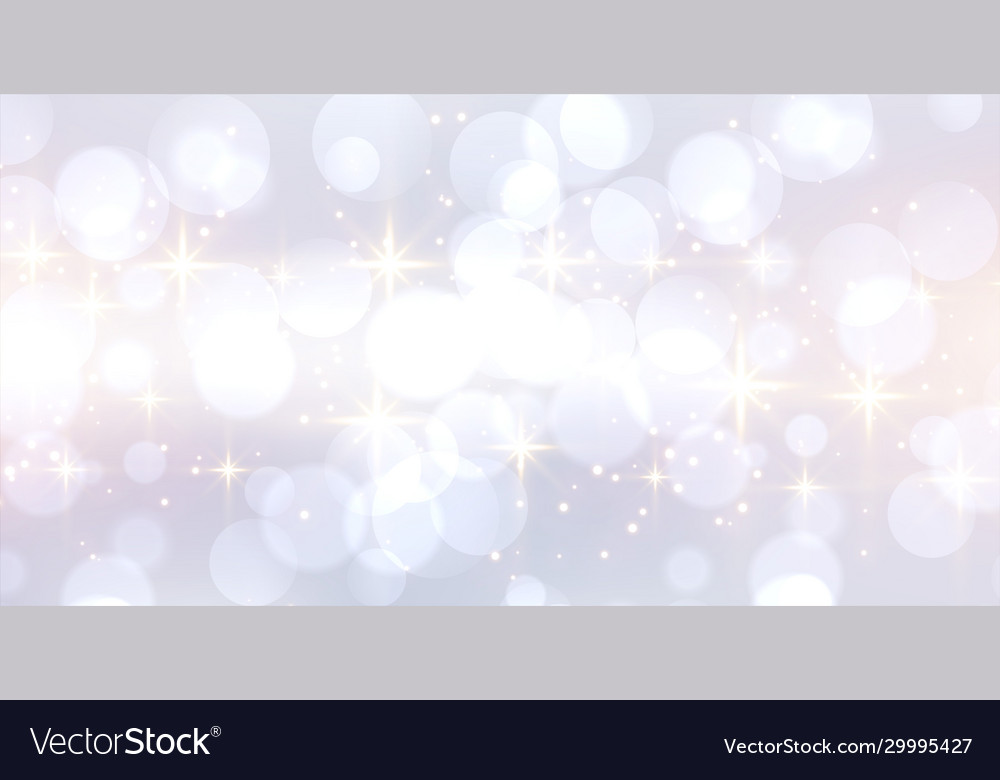 Glitetring white bokeh banner with text space