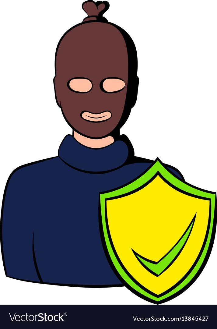 Robbery insurance icon cartoon