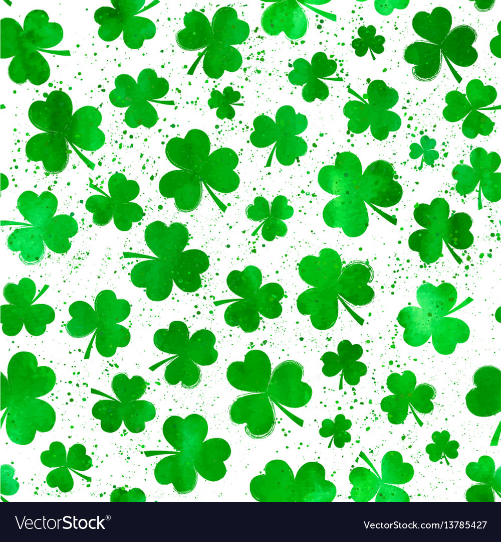 Seamless pattern with green watercolor clover