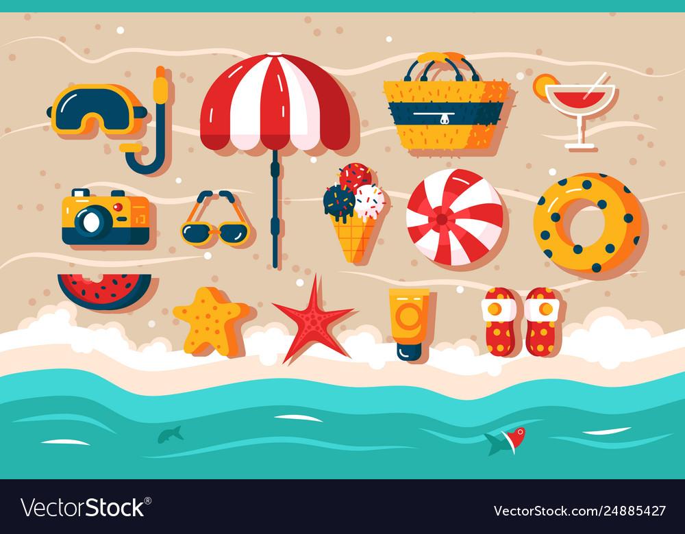 Set various beach accessories