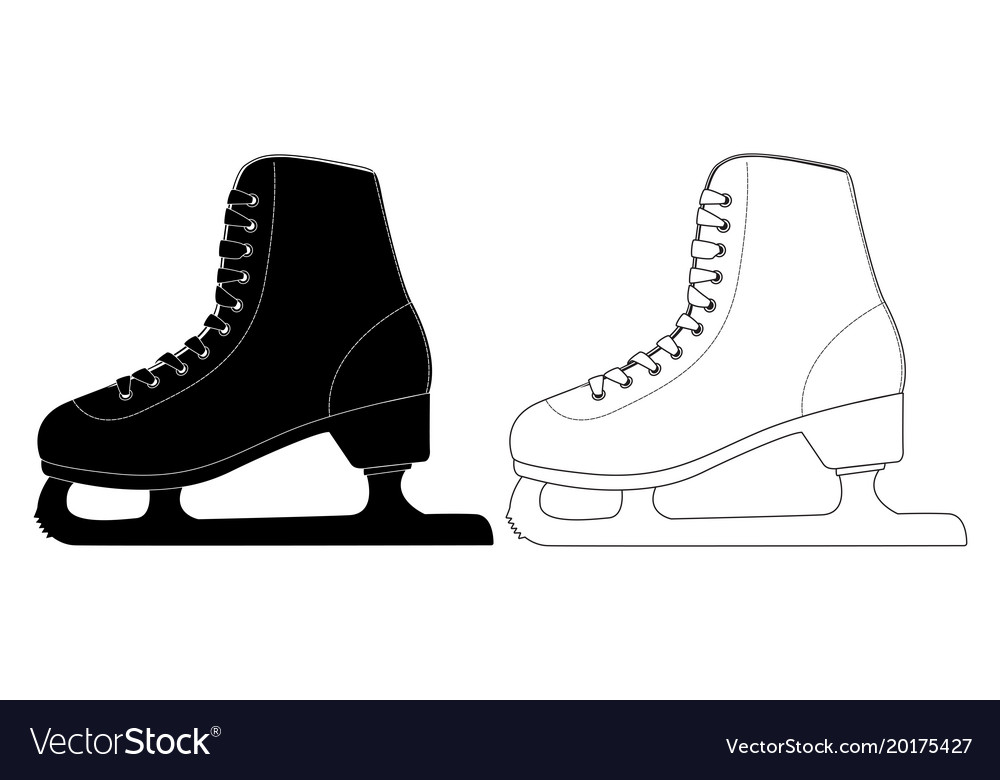 Skate flat black and white icons