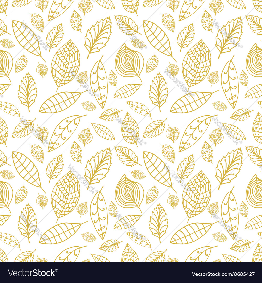 White and gold seamless pattern with leaves Styles vector image