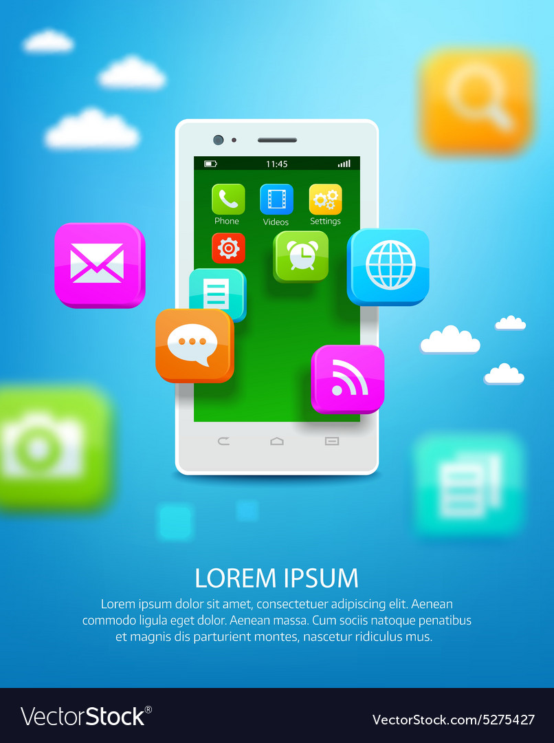 White smartphone with cloud of application icons