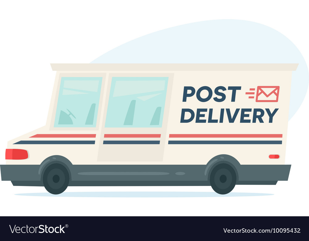 Cartoon fast delivery truck Isolated objects on