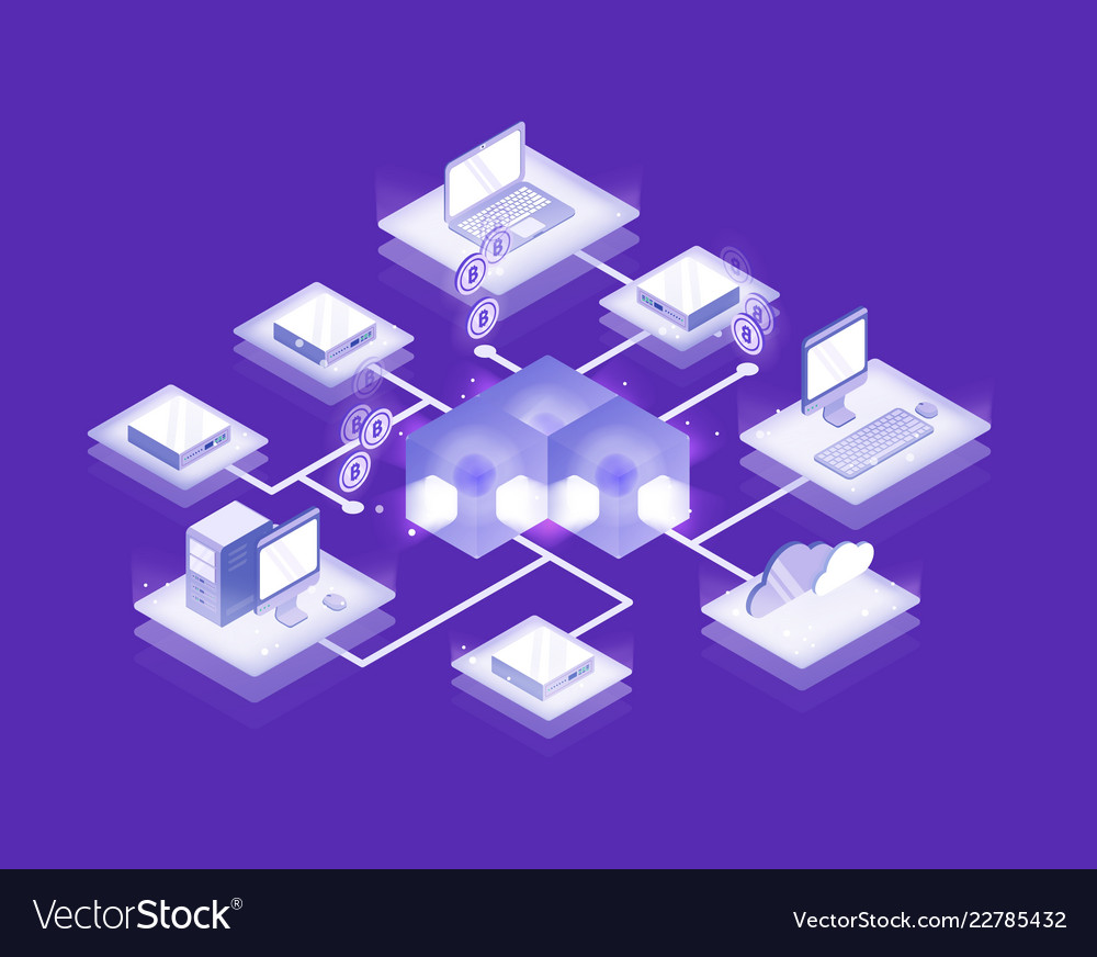 Computers and servers connected into blockchain