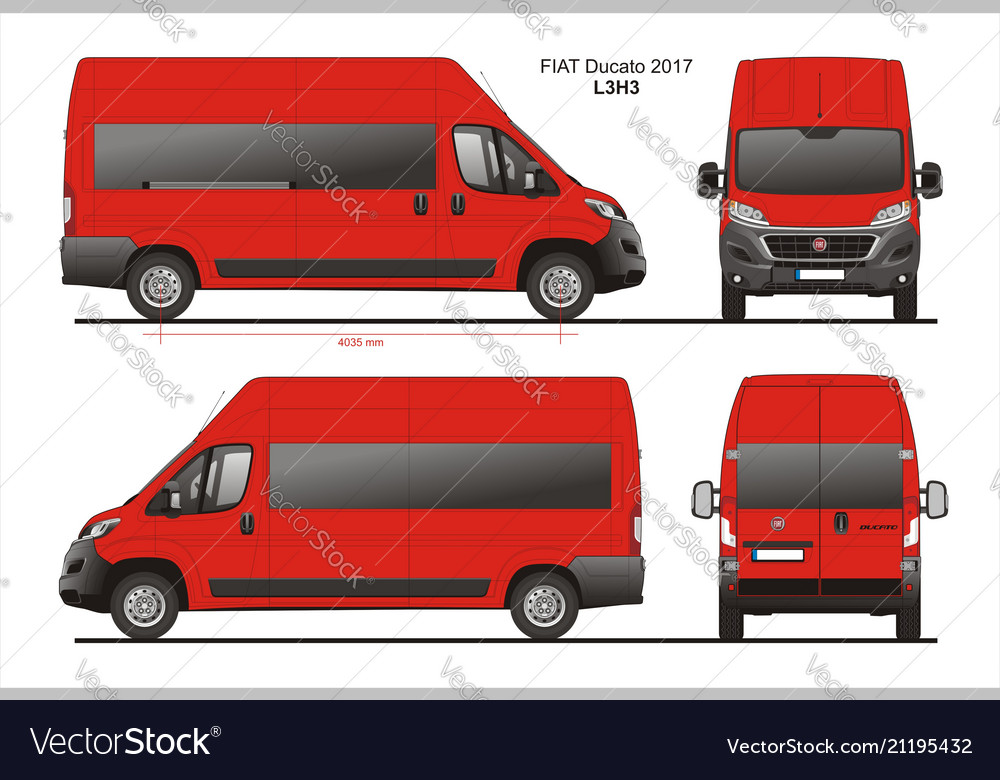fiat ducato passenger van l3h3 royalty free vector image. Black Bedroom Furniture Sets. Home Design Ideas