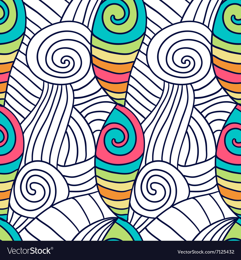 Hand drawn coloring page Spiral wavy background