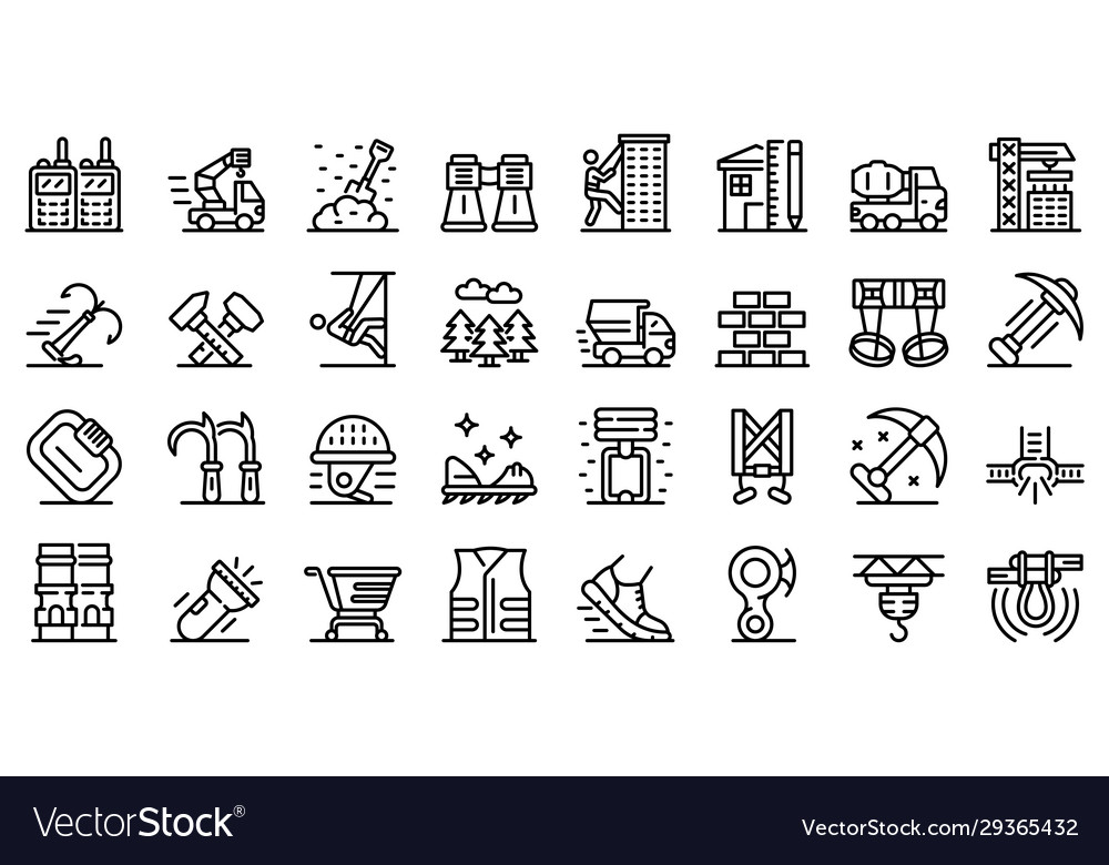 Industrial climber icons set outline style