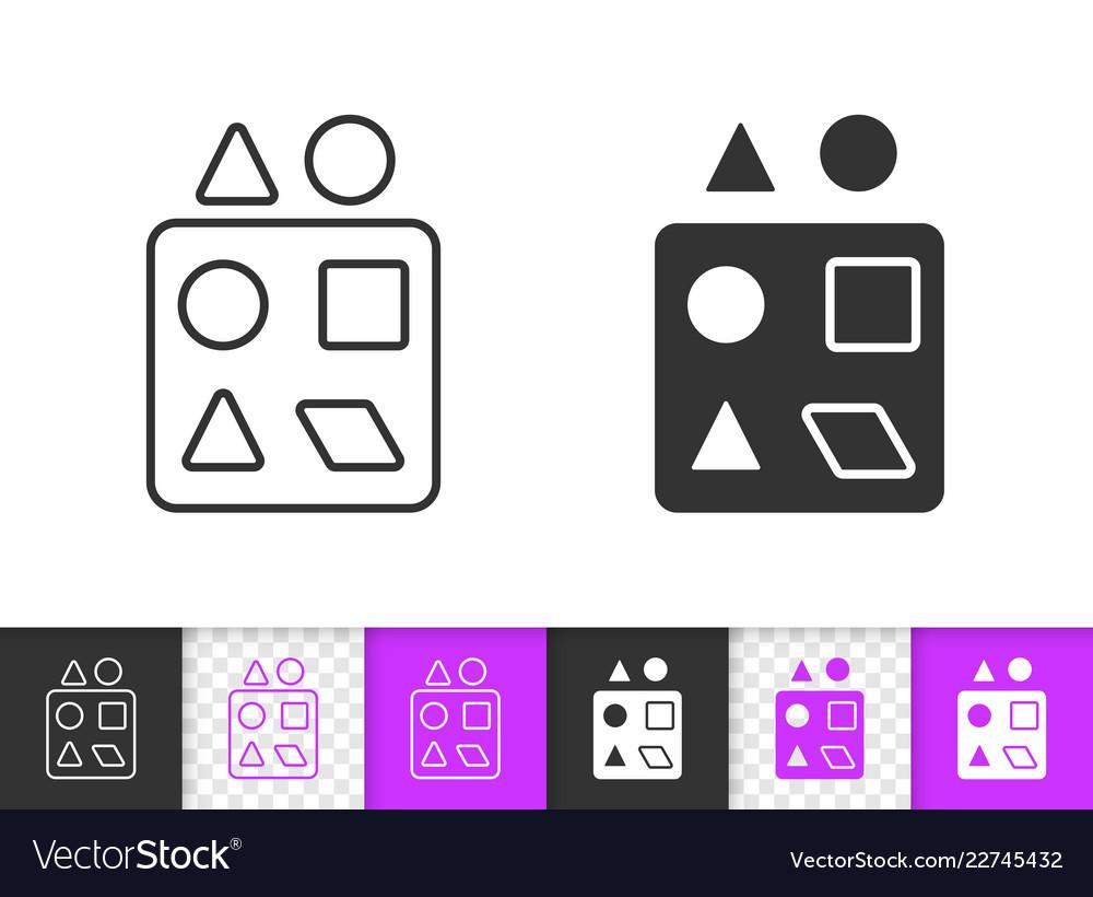 Sorter puzzle simple black line toy icon