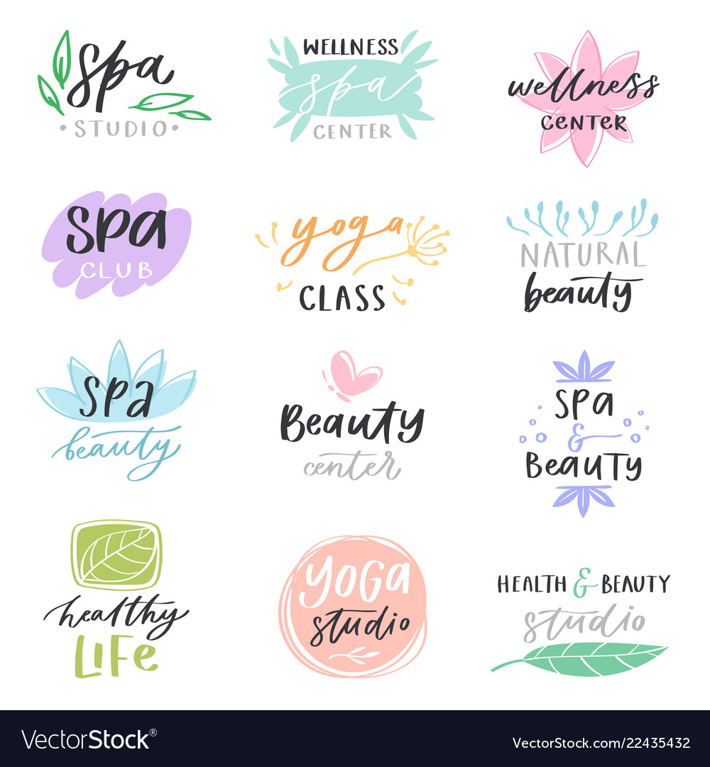 Spa lettering beauty calligraphic logotype