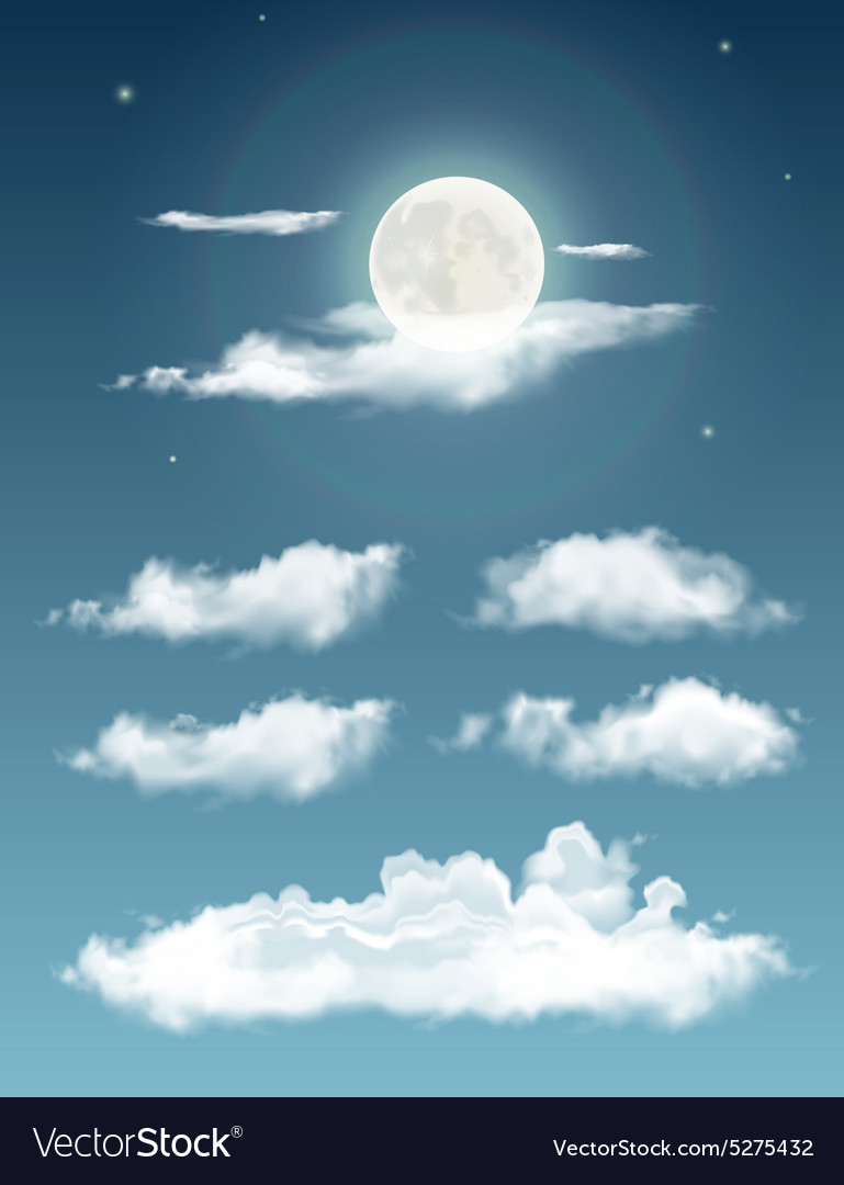 Transparent realistic clouds Night sky with moon