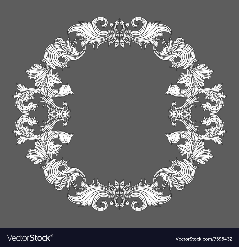 Vintage baroque frame border with leaf scroll