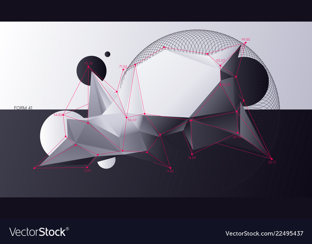 Abstract chaotic geometric low poly shapes