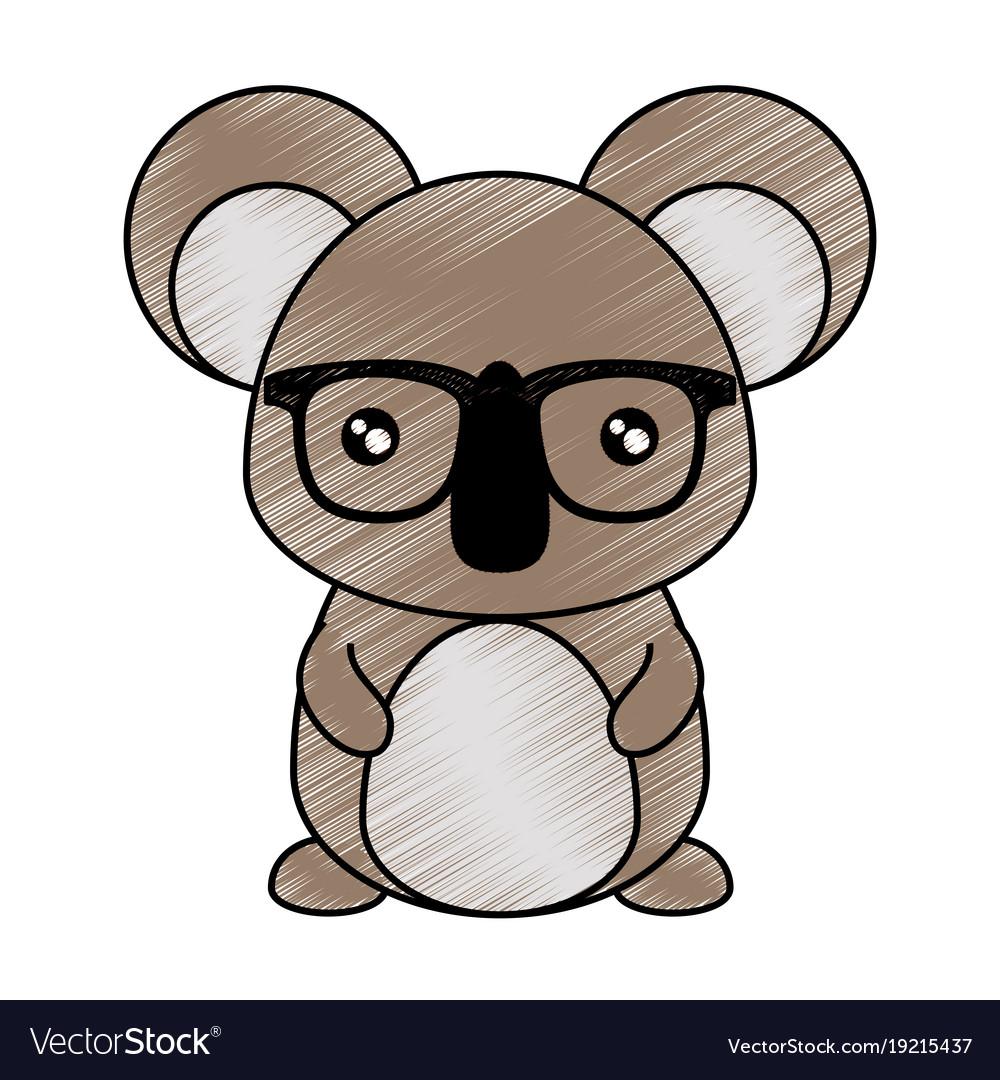 cartoon koala with glasses royalty free vector image rh vectorstock com cartoon koalas facs cartoon koala head