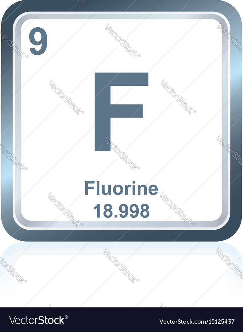 Chemical Element Fluorine From The Periodic Table Vector Image
