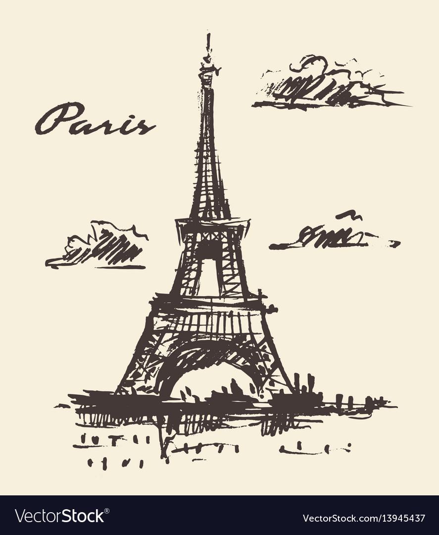 Eiffel tower paris france vintage hand drawn