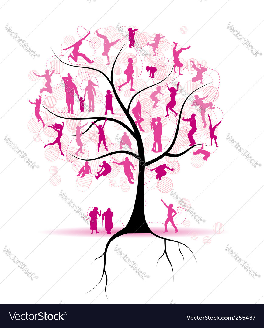 Family tree relatives people silhouettes
