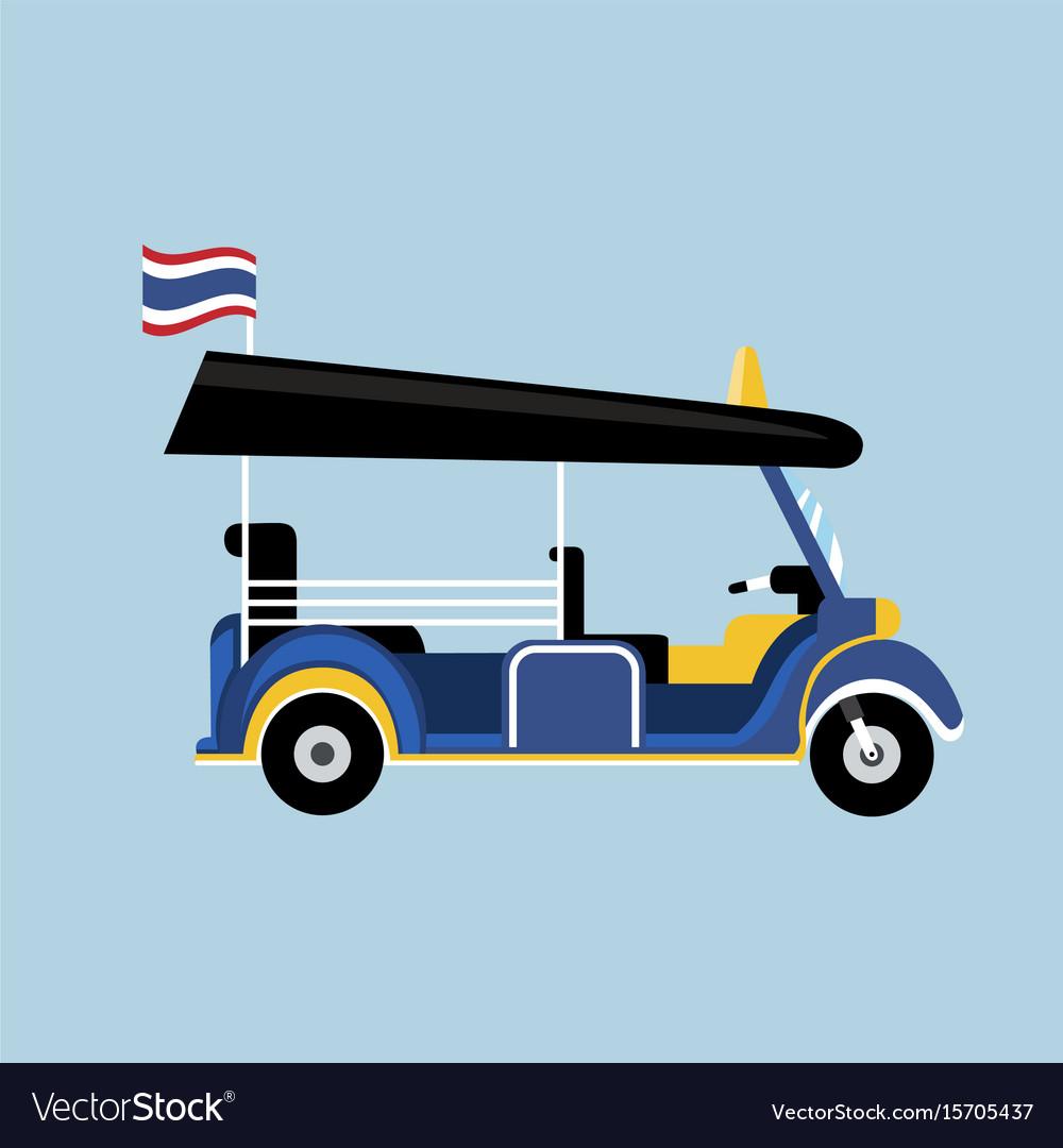 Flat tuk tuk in thailand with thai flag vector image