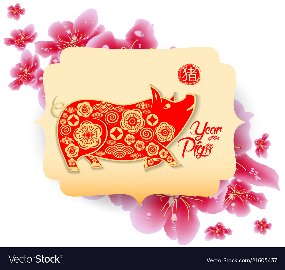 Happy chinese new year 2019 zodiac sign with red