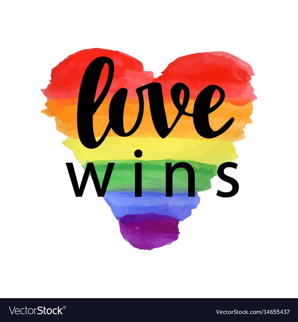 Love wins pride slogan vector image